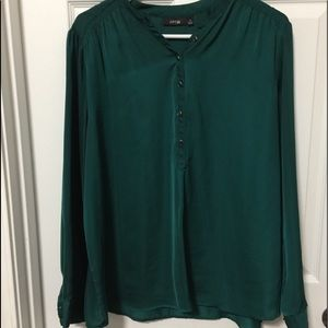 Green button down blouse- silky polyester material